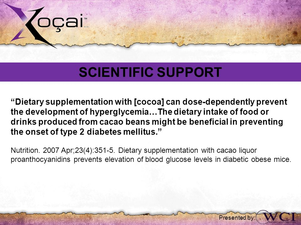 SCIENTIFIC SUPPORT Dietary supplementation with [cocoa] can dose-dependently prevent.